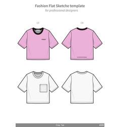 Crop top tee shirt fashion flat technical drawing vector