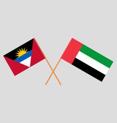 Crossed flags united arab emirates vector
