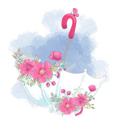 cute cartoon umbrella with flowers vector image