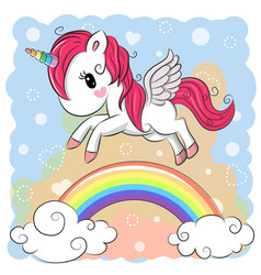 Cute cartoon unicorn and rainbow vector