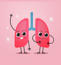 Cute lungs characters funny human internal mascot vector