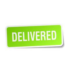 Delivered square sticker on white vector