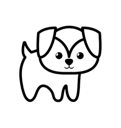 Dog little character animal outline vector