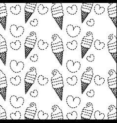 Dotted shape sweet ice cream in the cornet with vector