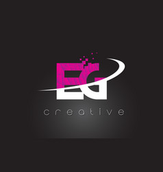 Eg e g creative letters design with white pink vector