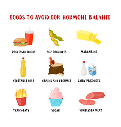 Food to avoid for hormone balancing set isolated vector