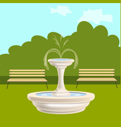 Fountain with benches in the park vector