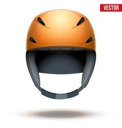 Front view of Classic orange Ski helmet isolated vector image