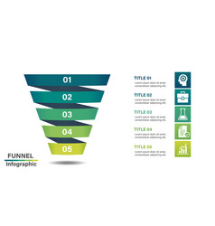 Funnel infographic design template with 5 steps vector