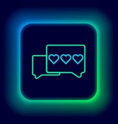 Glowing neon line like and heart icon isolated vector
