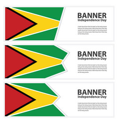 Guyana flag banners collection independence day vector