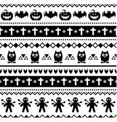 halloween seamless pattern with bats owls vector image