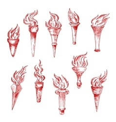 Handheld and wall red flaming torches sketch icons vector