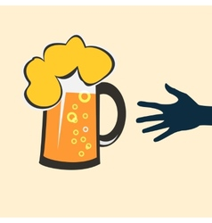 Hands reaching for a glass of beer vector image vector image