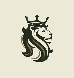 head of a lion with a royal crown vector image