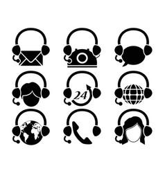 Headset hotline icon set vector