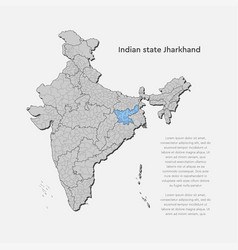 India country map and jharkhand state template vector