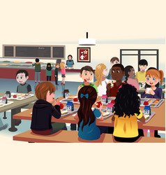 Kids eating at school cafeteria vector