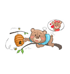 male bear going take honey from hive full of bees vector image