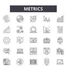 Metrics line icons signs set outline vector