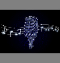 microphone and music notes polygonal art vector image