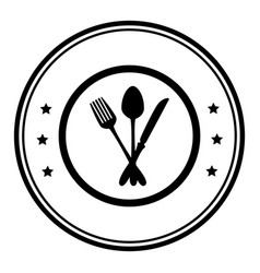 Monochrome circular frame with cutlery vector