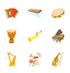 musical instruments icons set cartoon style vector image