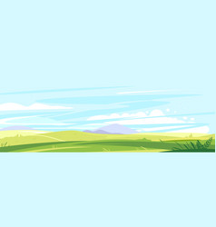 Panorama green hills with herbs vector