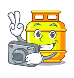 Photographer creative in gas cartoon tank vector