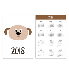 Pocket calendar 2018 year week starts sunday dog vector