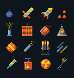 pyrotechnics for holidays and different tools vector image