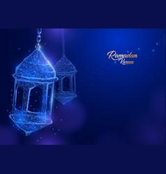 Ramadan lantern form a starry sky eid al-fitr vector