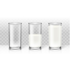 realistic transparent milk in a glass diet drink vector image