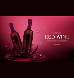 red wine bottles mockup flasks with alcohol drink vector image