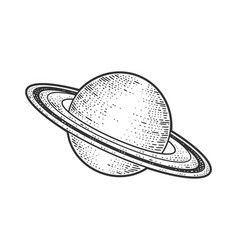 Saturn planet in solar system sketch vector