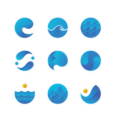Sea surface ocean waves logos and water labels vector