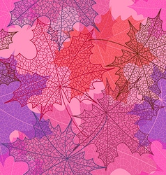 Seamless pattern of autumn maple leaves vector image
