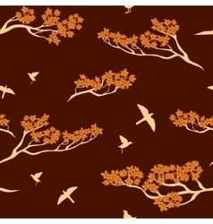 seamless pattern sakura tree vector image