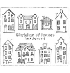 Set hand drawn buildings vector