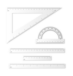 Set measuring tools rulers triangles vector