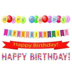 Set of labels Happy Birthday vector image