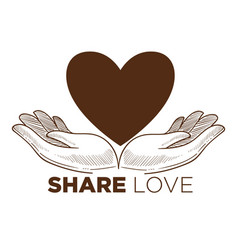 Share love charity action isolated icon heart and vector