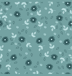 simple seamless pattern with flowers dusty blue vector image