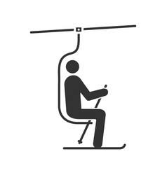Ski chairlift with skier glyph icon vector