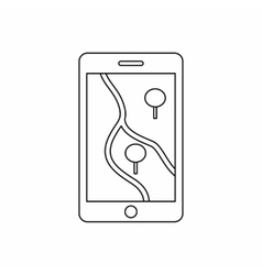 Smartphone with GPS navigator icon outline style vector
