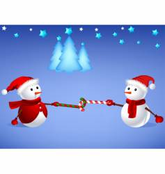 Snowman with X'mas cane vector image