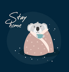 Stay home cute stop coronavirus vector