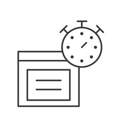 Stopwatch and parcel box line icon estimate vector