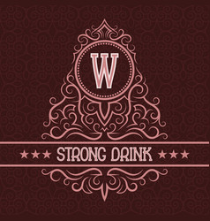 Strong drink label design template patterned vector
