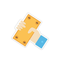 Stylish sticker on paper Money in hand vector